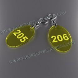 Llaveros Personalizados 47x30mm Ovalados amarillos Fluor 3mm