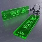 Llaveros Personalizados 75x20mm Rectangulares verdes Fluor 3mm