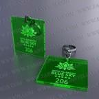 Llaveros Personalizados verdes Fluor Cuadrado 50x50 3mm