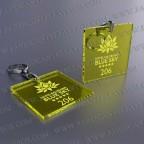 Llaveros Personalizados 50x50mm Cuadrados Amarillos Fluor 3mm