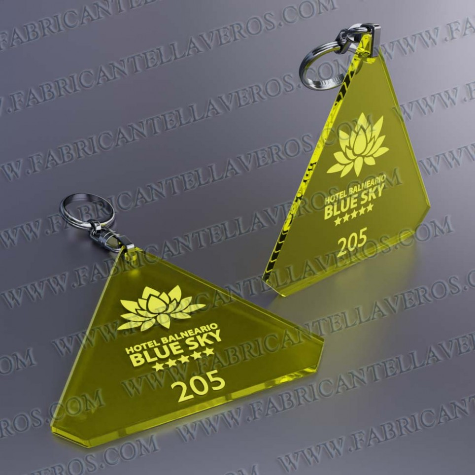 Llaveros Forma Diamante 80x78mm grosor 3mm fluor