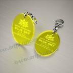 Llaveros Personalizados 75x50mm Ovalados amarillos Fluor 3mm