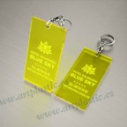 Llaveros Personalizados 100x60mm Rectangulares amarillos Flúor 3mm
