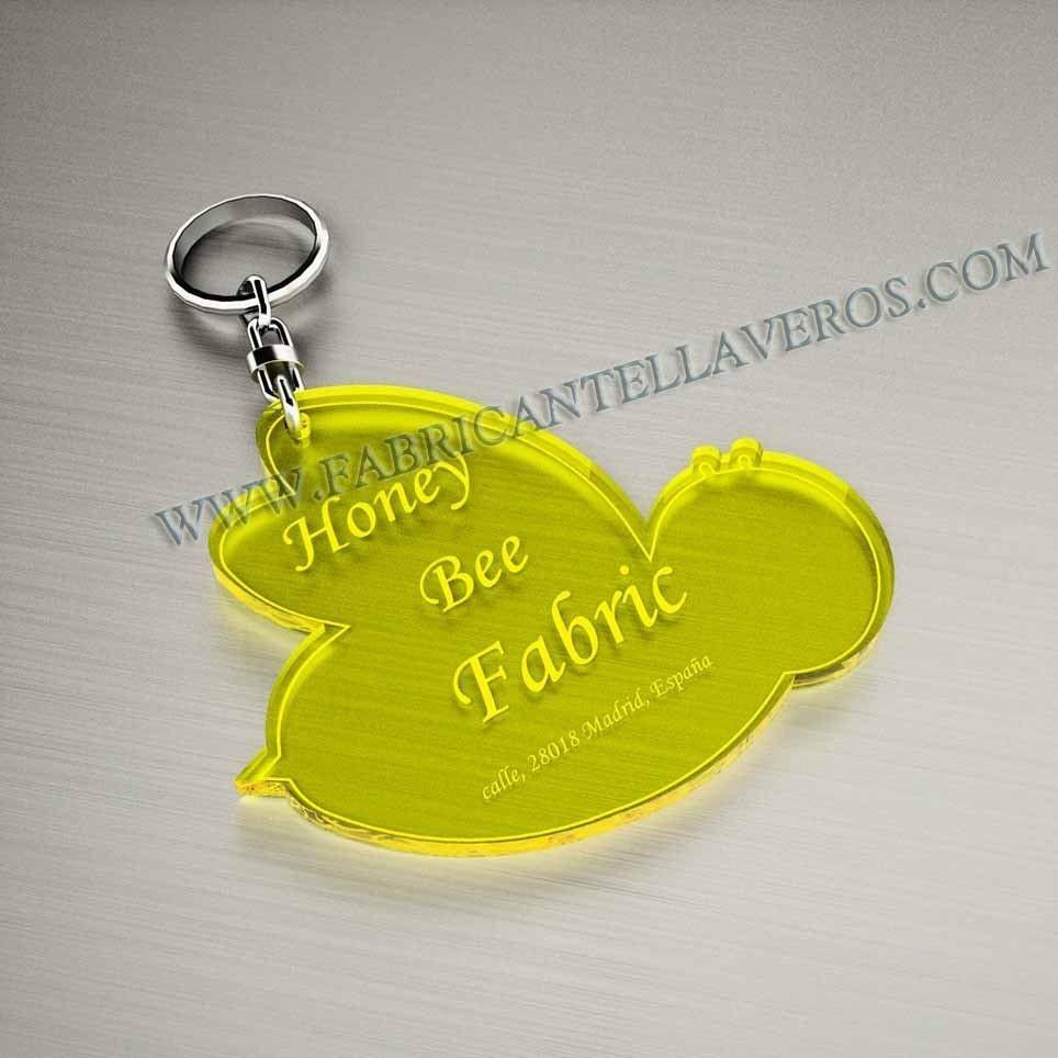 Llaveros Personalizados 50x50mm Forma Abeja amarillos Fluor 3mm