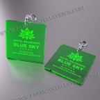 Llaveros Personalizados 100x100mm Verde Flúor Cuadrados 3mm