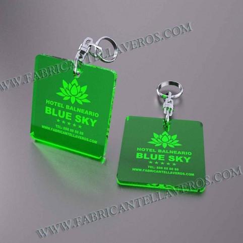 Llaveros Personalizados Azules Fluor Rectangular 50x50 3mm
