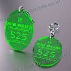 Llaveros Personalizados 75x50mm Ovalados verdes Fluor 3mm
