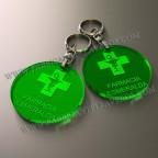 Llaveros Personalizados verdes Fluor Redondo 50x50 3mm