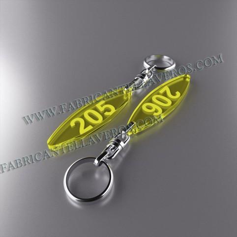 Llaveros Personalizados Elipse amarillo Fluor 3mm
