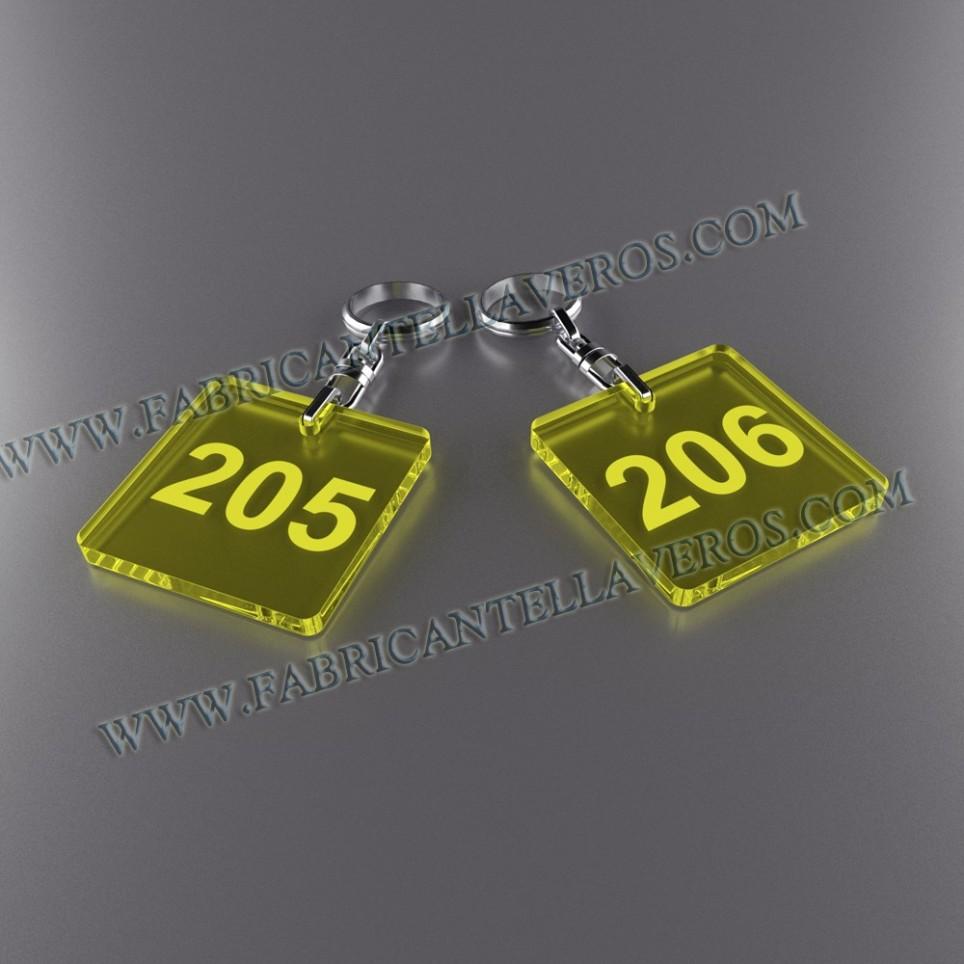Llaveros Personalizados Azules Fluor cuadrado 50x50 3mm
