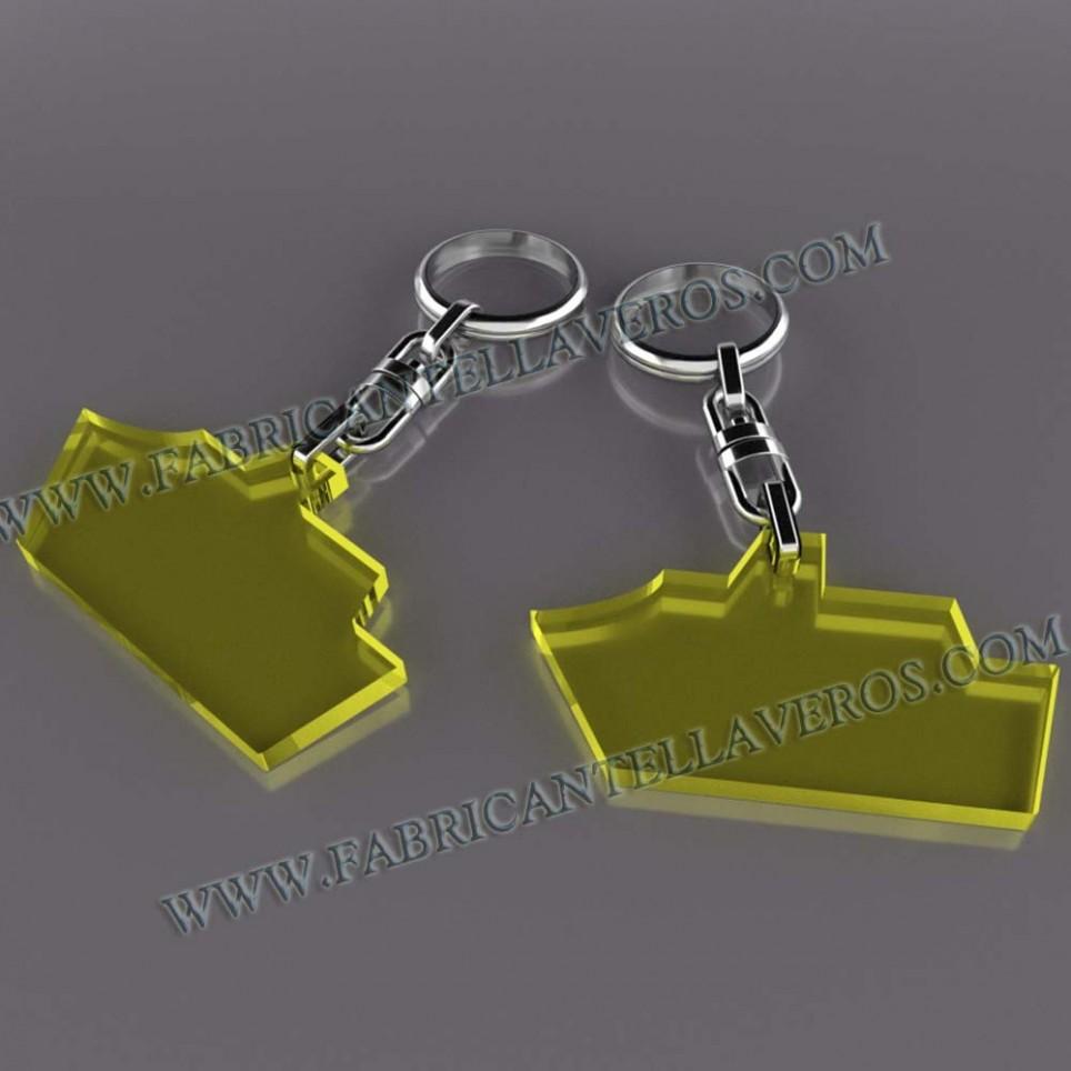 Llaveros Merchandising 50x50mm fluor amarillos grosor 3mm