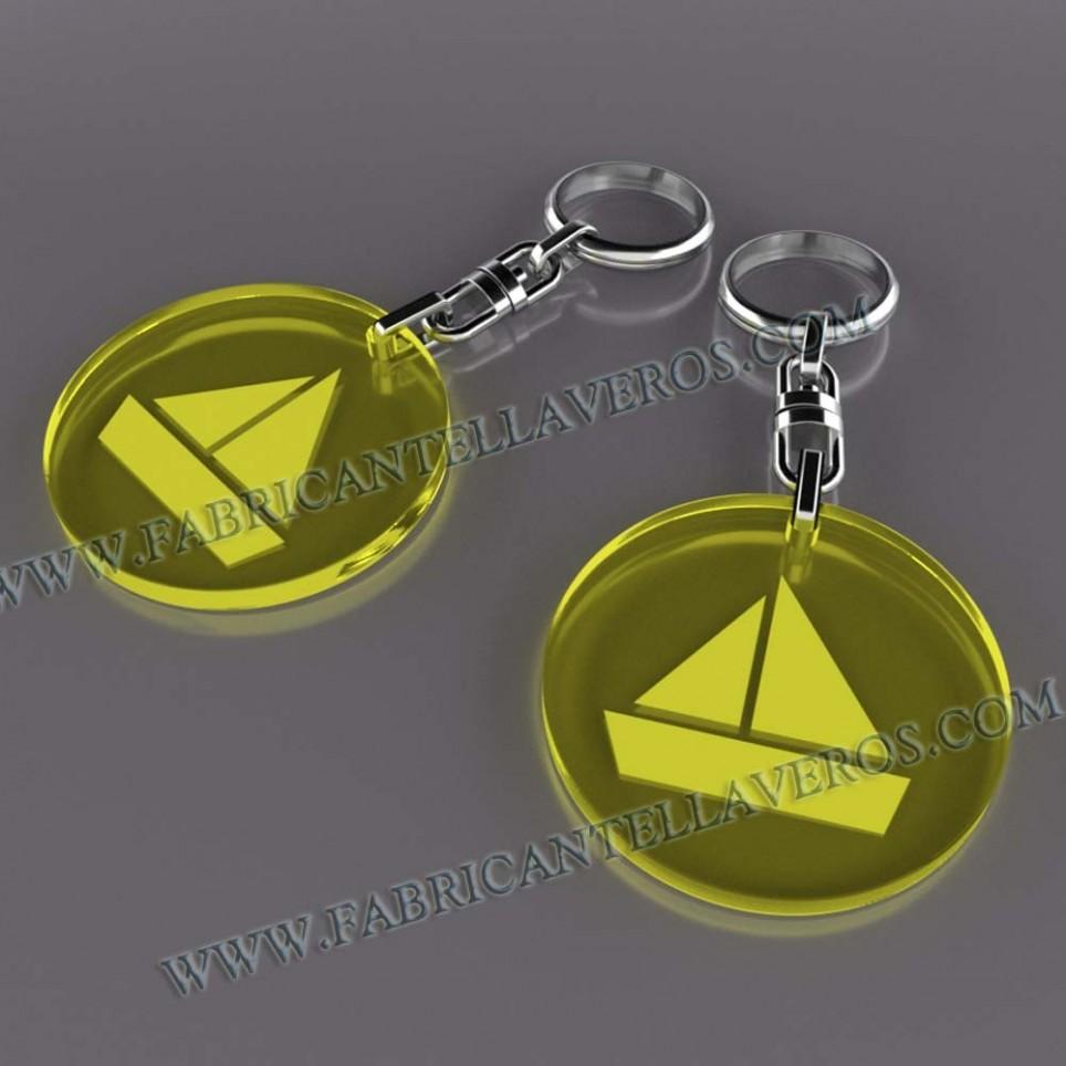 Llaveros Merchandising embarcacion fluor amarillos grosor 3mm