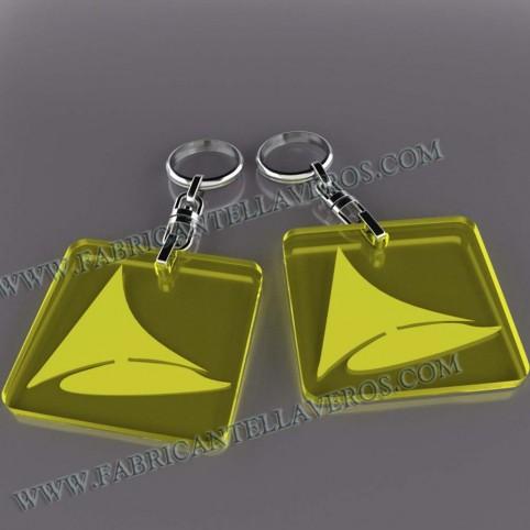 Llaveros Merchandising  fluor amarillos grosor 3mm