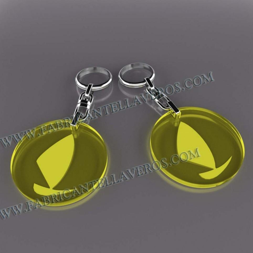 Llaveros Merchandising boat fluor amarillos grosor 3mm