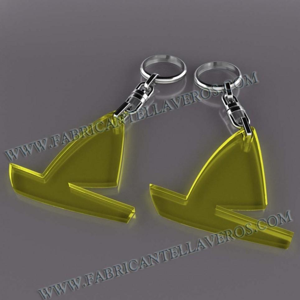 Llaveros Merchandising barco vela fluor amarillos grosor 3mm