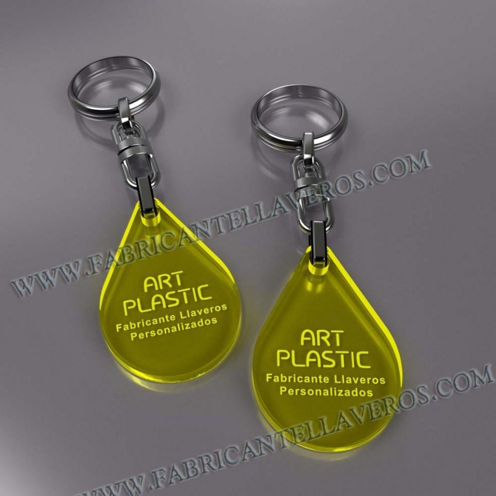 Llaveros Merchandising gota fluor amarillos grosor 3mm