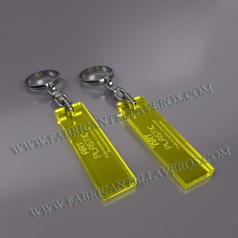 llaveros personalizados rectangulares merchandising amarillos