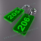 Llaveros Personalizados 80x40mm Verdes Rectangulares Fluor 3mm