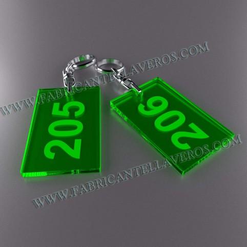 Llaveros Personalizados Rectangulares 80x50 Fluor 3mm