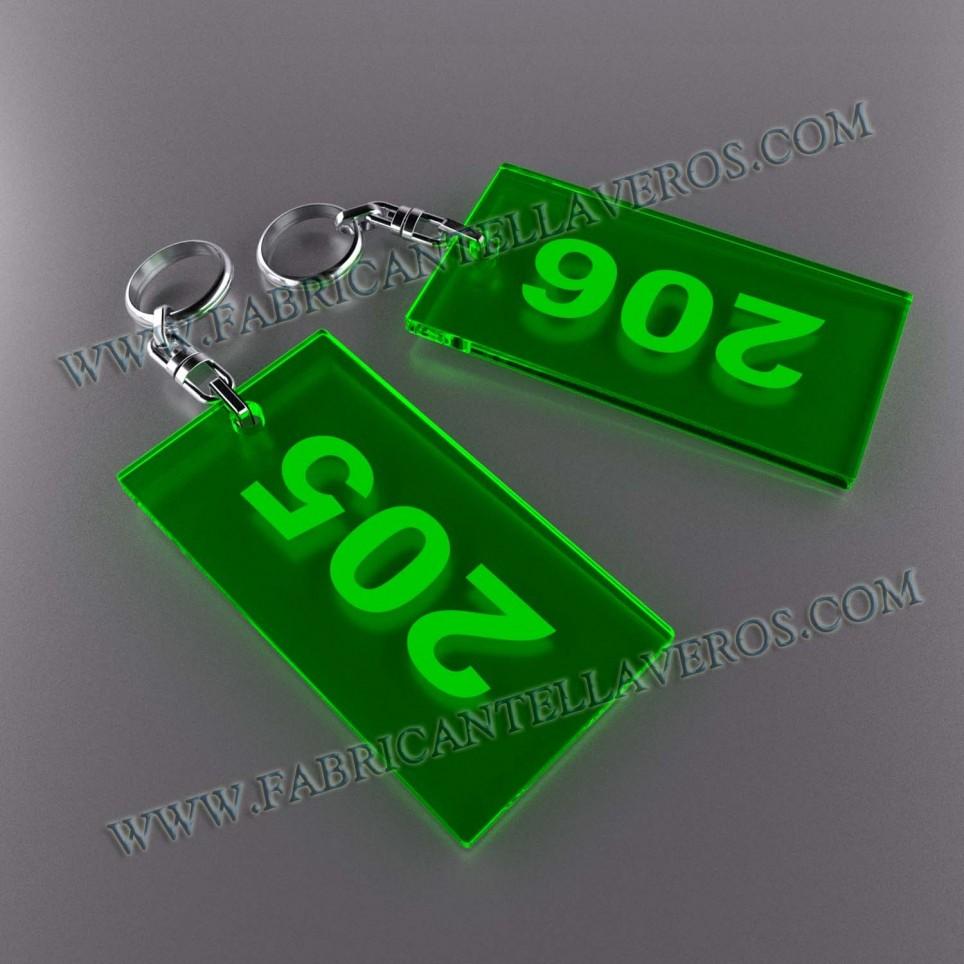 Llaveros Personalizados Rectangulares 100x60 Fluor 3mm