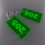 Llaveros Personalizados 100x60mm Rectangulares verdes Flúor 3mm