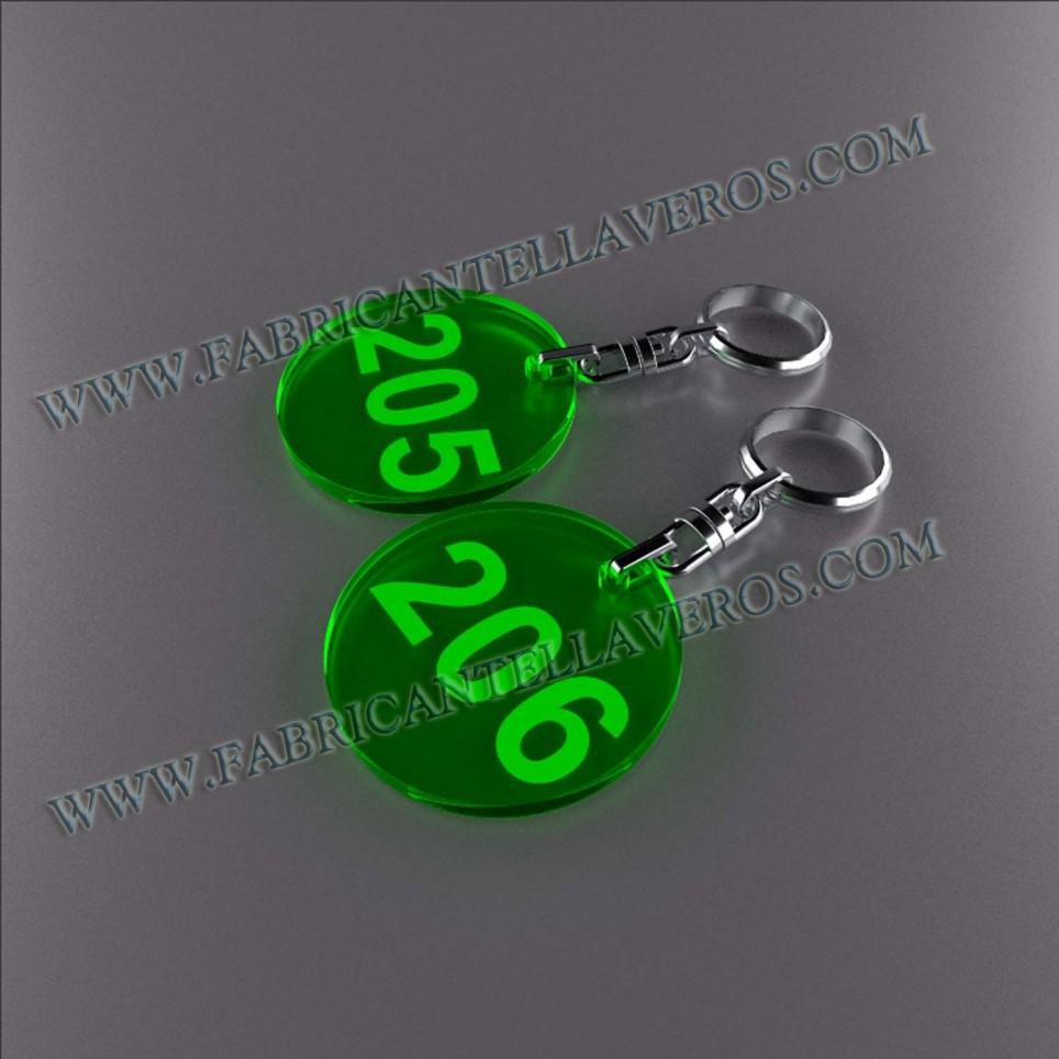 Llaveros Personalizados verdes Fluor Rectangular 50x50 3mm