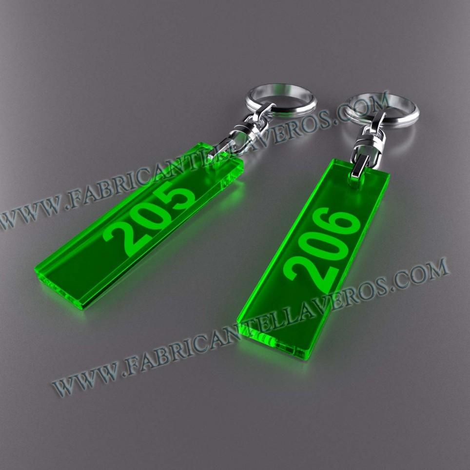 Llaveros Personalizados Rectangulares 75x20 Fluor 3mm