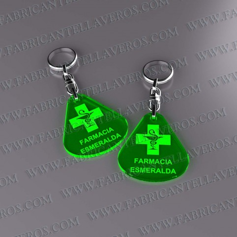 Llaveros Merchandising  gota fluor verdes grosor 3mm