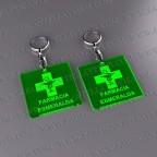 Llaveros Publicitarios Baratos 50x50mm Cuadrado Fluor Verde 3mm grosor