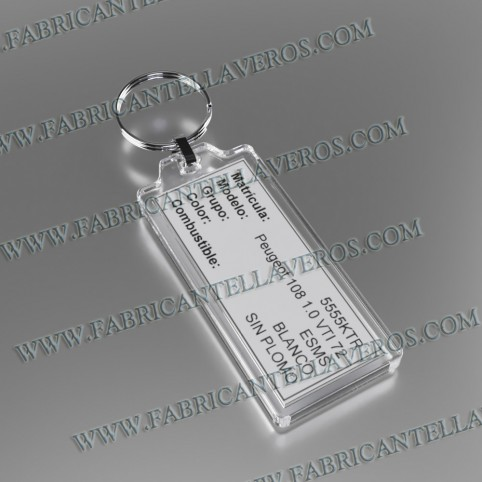 llavero etiqueta transparente 32x32mm