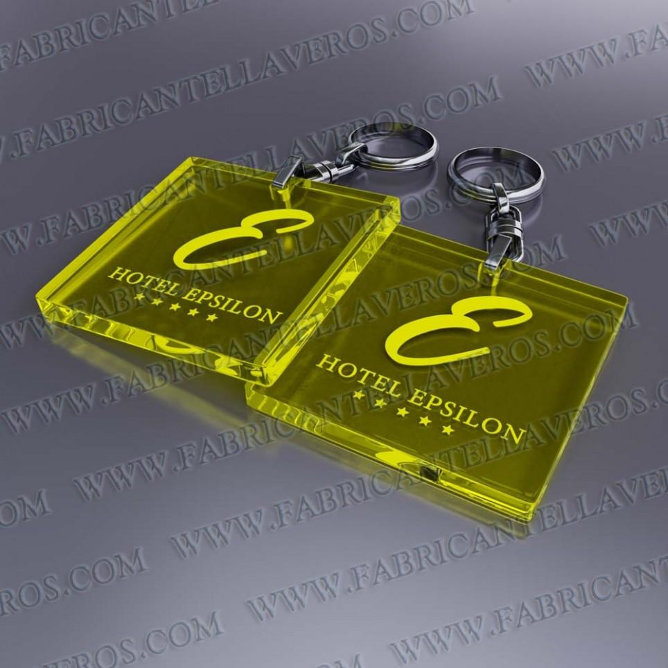Llaveros Publicitarios Baratos redondos 35x35 Fluor Amarillo 3mm grosor