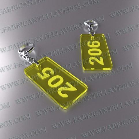 Llaveros Personalizados 80x40mm Amarillos Rectangulares Fluor 3mm