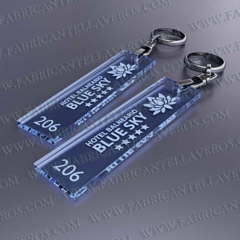 Llaveros Personalizados Rectangulares verdes 75x20 Fluor 3mm