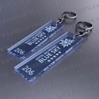 Llaveros Personalizados 75x20mm Rectangulares Azul Fluor 3mm