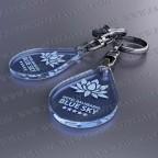 Llaveros Publicitarios Baratos 27x40mm Gota Fluor Azul 3mm grosor