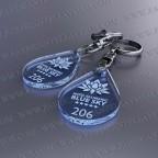 Llaveros Personalizados 27x40mm Gota pequeña azul Fluor 3mm