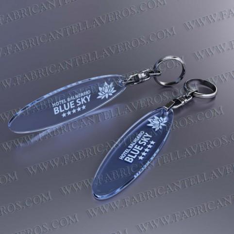 Llaveros Publicitarios Baratos 75x20 Fluor Azul 3mm grosor
